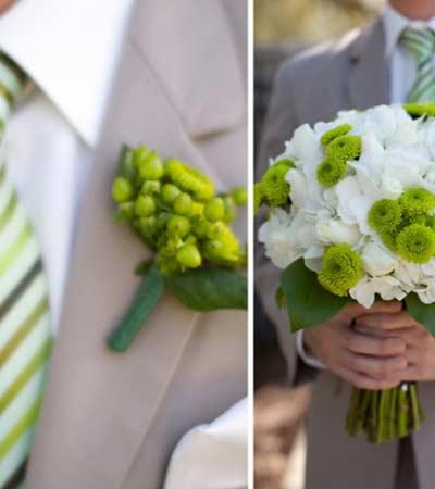 Novio boda flores